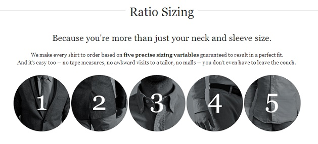 ratio sizing five measurements