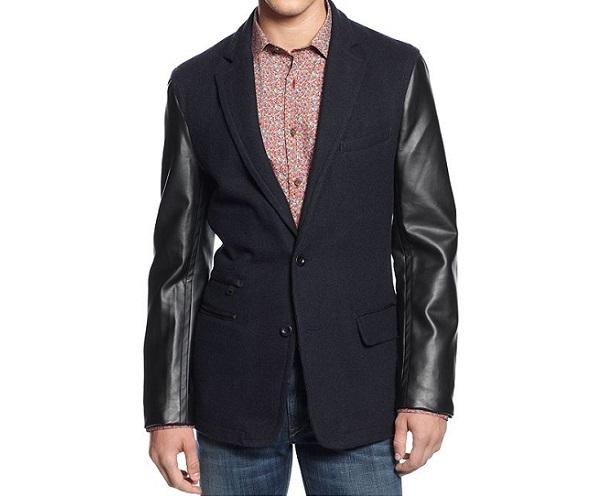DKNY leather sleeved blazer
