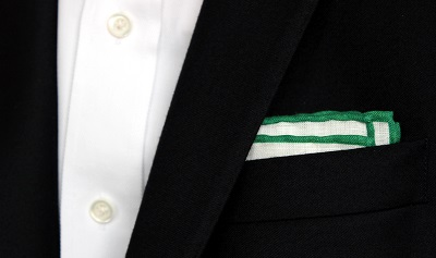 Green Tipped Pocket Square on Dappered.com